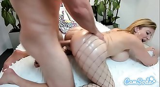Sara Jay big tits Mummy in fishnet hammered by youthful big cock stud.