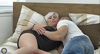 Horny mature lady loves young cock