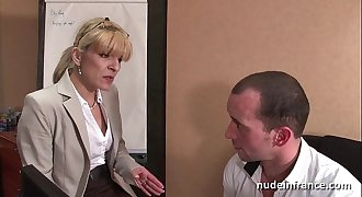 Unexperienced mature blonde anal fucked hard at office
