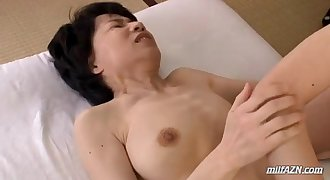 Mature Woman With Hairy Vagina Fingered And Licked By Young Dude On The Mattress